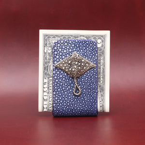 SILVER STINGRAY WITH BLUE EXOTIC MONEY CLIP