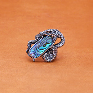 SNAKE RING WITH AVALON SHELL