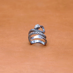 DOUBLE WRAP SNAKE SILVER PLATED RING