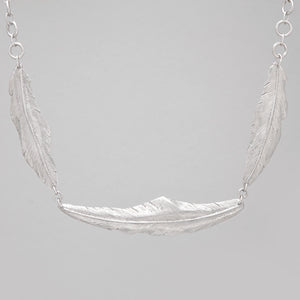 STERLING SILVER TRIPLE FEATHER NECKLACE