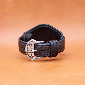CROCODILE WATCHSTRAP IN BLACK 22MM LUG