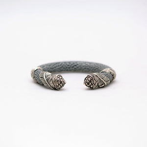 EXOTIC CUFF WITH SILVER PLATED FEATHER WRAP CAPS
