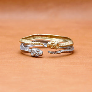 RATTLE SNAKE BANGLE IN WHITE BRASS