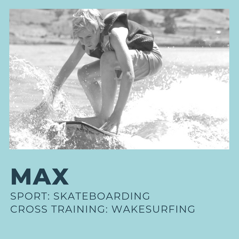 12-year old Max is a surfer and skateboarder, and he safely cross trains to prevent injury with wakesurfing by making continual progress with his muscles and changing up his routine.