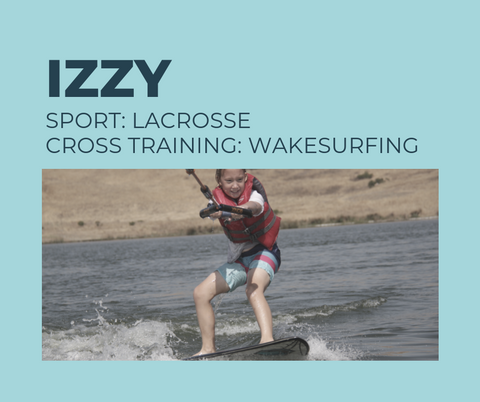 9-year old athlete Izzy plays lacrosse and soccer and cross trains with  low impact wakesurfing to keep her body agile and engaged.