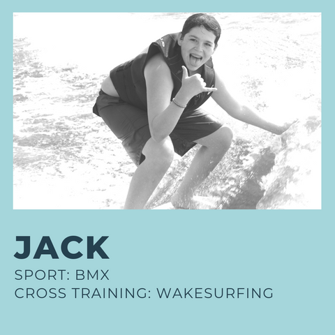 15-year old athlete Jack rides BMX, scooter, and trampoline, and he safely cross trains with low impact wakesurfing to keep his body moving and engaged year round.