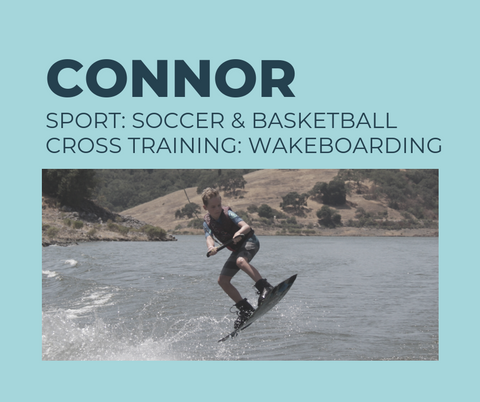 12-year old Connor plays competitive soccer and basketball in tournaments, and he safely cross trains to prevent injury with wakeboarding and wakesurfing by making continual progress with his muscles and changing up his routine.