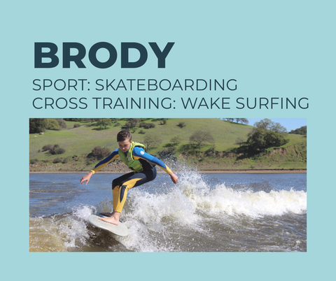 12 year old athlete and skateboarder Brody uses wakesurfing as cross training to prevent knee injury. Wakesurfing is low impact and