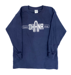 Ohana Board Shop Long Sleeve, Navy (Youth)