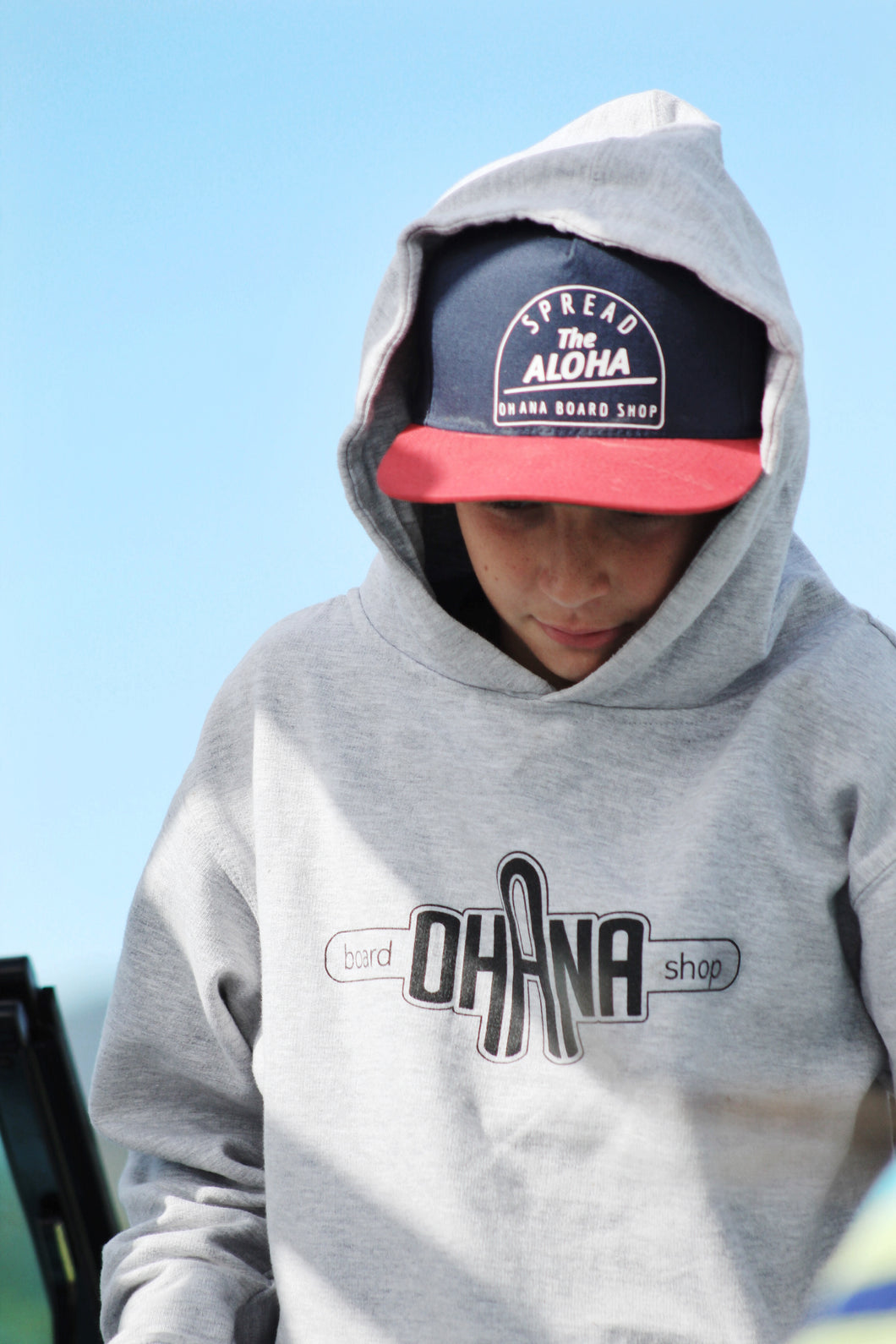 SOLD OUT! Ohana Board Shop Hoodie, Charcoal (Youth)