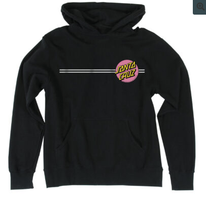 Santa Cruz Hoodie (Youth) - Black with Pink Dot