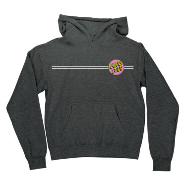 Santa Cruz Hoodie (Youth) - Charcoal with Pink Dot