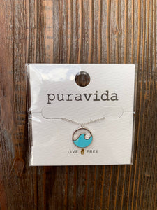 Pura Vida Necklace, Stone Wave