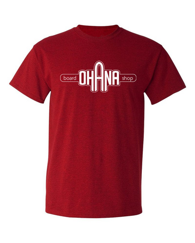Ohana Board Shop T-Shirt, Cherry Red (Adult) - SIZE L AND XL ONLY