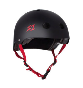 S1 Helmets (Skate + Bike Certified) - Lifer for ages 5/6 to adult, Black with Red Straps