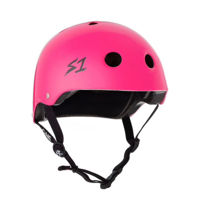 S1 Helmets (Skate + Bike Certified) - Mini for ages 3-5/6, Hot Pink