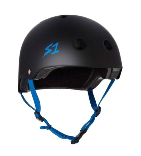 S1 Helmets (Skate + Bike Certified) - Lifer for ages 5/6 to adult, Black with Cyan Straps