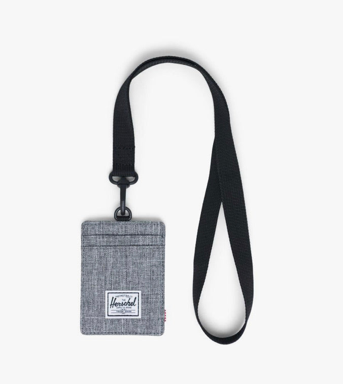 Herschel Wallet - Charlie with Lanyard, Raven Crosshatch