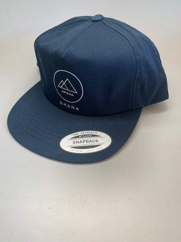 OHANA Circle Unstructured Snapback Hat, Navy