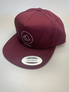 OHANA Circle Unstructured Snapback Hat, Maroon