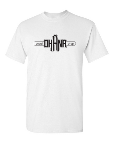 Ohana Board Shop T-Shirt, White (Adult)