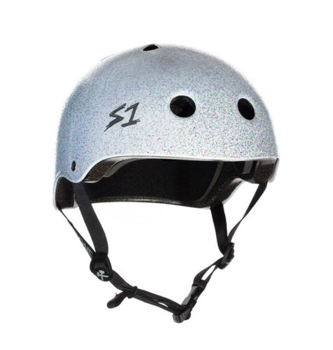 S1 Helmets (Skate + Bike Certified) - Lifer for ages 5/6 to adult, White Gloss with GLITTER