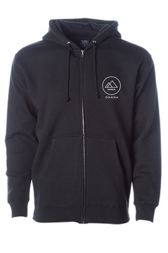 OHANA Zip Up Hoodie, Black (Adult)