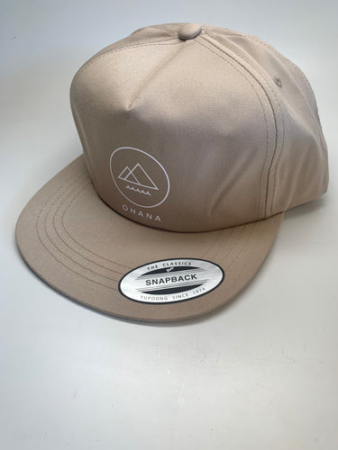 OHANA Circle Unstructured Snapback Hat, Beige