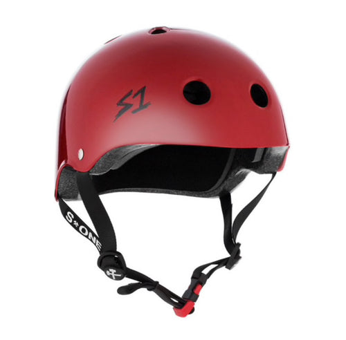 S1 Helmets (Skate + Bike Certified) - Mini for ages 3-5/6, Deep Red
