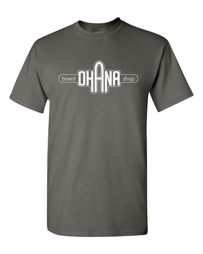 Ohana Board Shop T-Shirt, Charcoal (Adult) - SIZE SMALL AND XL ONLY