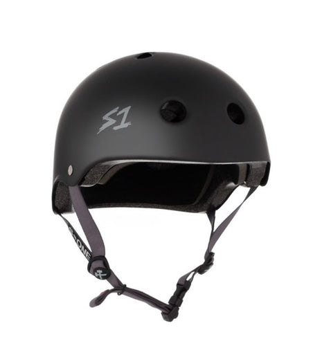 S1 Helmets (Skate + Bike Certified) - Lifer for ages 5/6 to adult, Black with Grey Straps