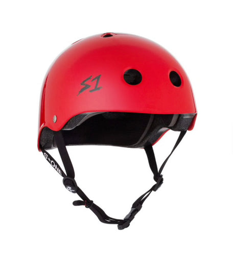 S1 Helmets (Skate + Bike Certified) - Lifer for ages 5/6 to adult, Red Gloss