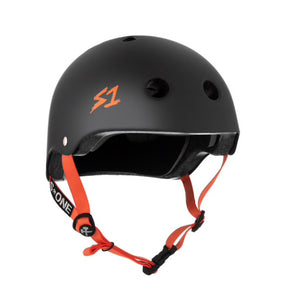 S1 Helmets (Skate + Bike Certified) - Lifer for ages 5/6 to adult, Black with Orange Straps