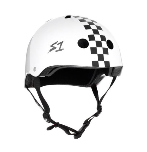 NEW! S1 Helmets (Skate + Bike Certified) - Lifer for ages 5/6 to adult, White Gloss with Checkers
