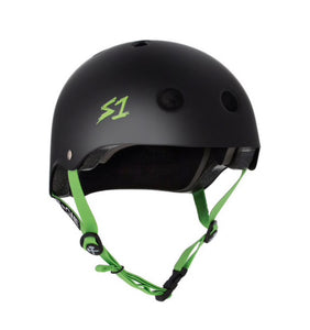 S1 Helmets (Skate + Bike Certified) - Lifer for ages 5/6 to adult, Black with Green Straps