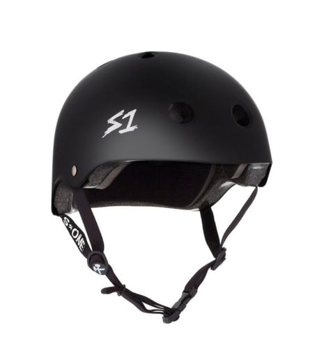 S1 Helmets (Skate + Bike Certified) - Lifer for ages 5/6 to adult, Black with black straps