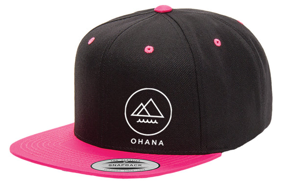 OHANA Circle Snapback Hat - Black/Hot Pink