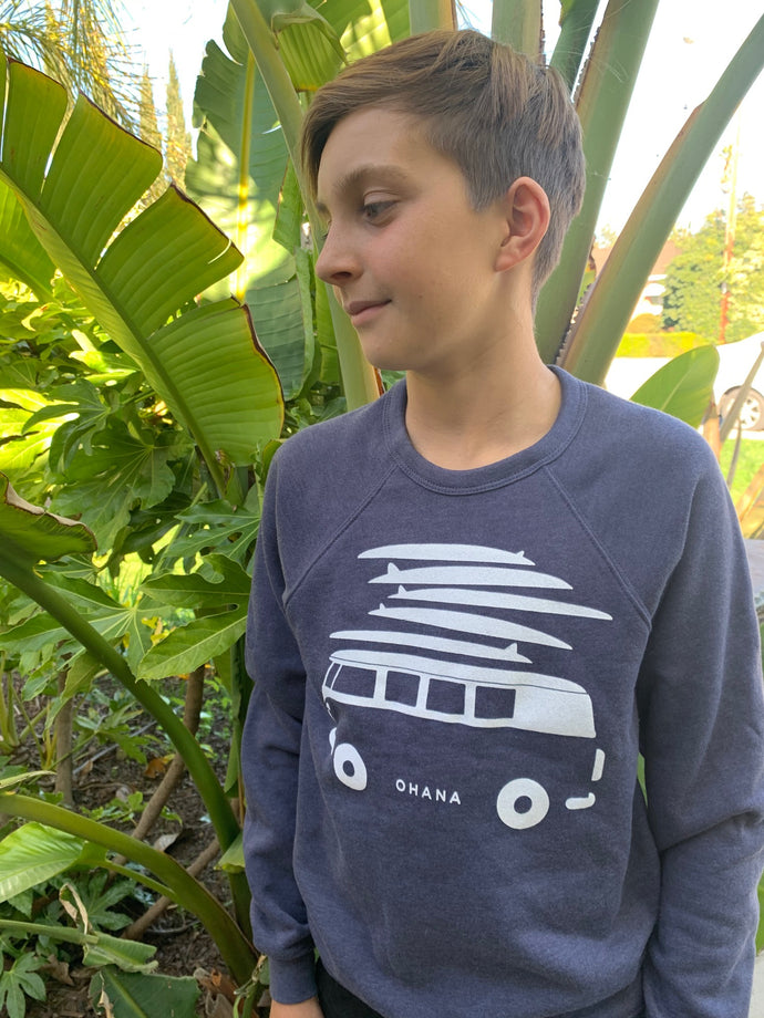 OHANA Van Crew Neck Sweater - Heather Navy (Youth) - SIZE SMALL AND MEDIUM ONLY