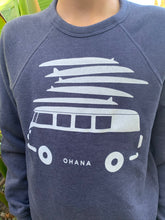 Load image into Gallery viewer, NEW! Ohana Van Crew Neck Sweater - Heather Navy (Youth)