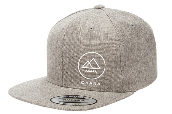 Ohana Circle Snapback Hat - Heather Grey