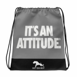 BACKPACKS - GETEMBOY® DRAWSTRING BACKPACK IT'S AN ATTITUDE GRAY