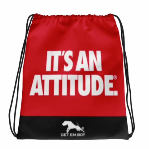 BACKPACKS - GETEMBOY® DRAWSTRING BACKPACK IT'S AN ATTITUDE RED