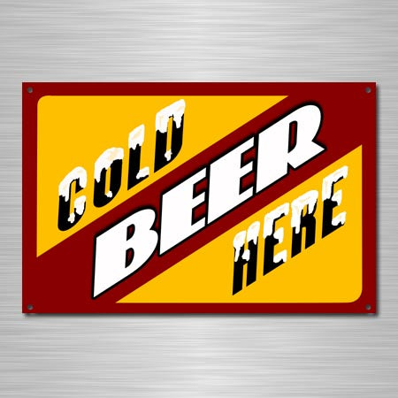 Cold Beer Here Metal Sign