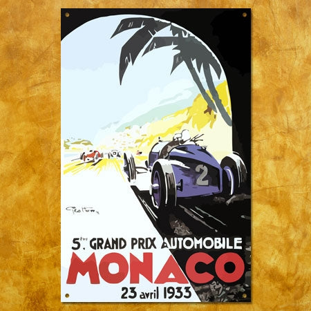 1933 Monaco Grand Prix Vintage Metal Car Sign