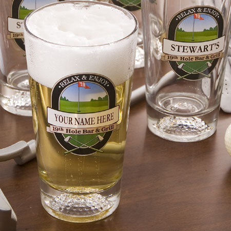 Personalized Beer Glasses(set of 4), 19th Hole