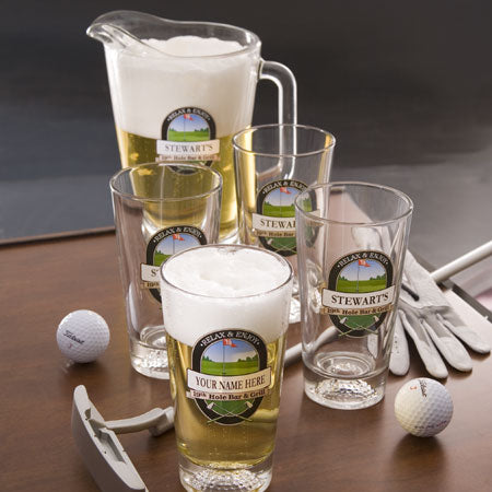 Personalized Beer Glass & Pitcher Set, 19th Hole