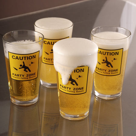 Party Zone Beer Glasses, 15 oz. (Set of 4)