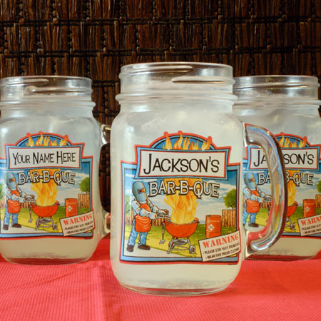 Personalized Mason Jars, Set of 4 - BBQ Fire