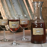 Personalized Wine Glasses/Carafe - Brown Chateau