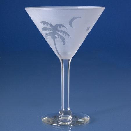 Frosted Palm Martini Glasses - Set of 4